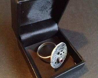 Artisan Sterling Ring with Garnet Stone