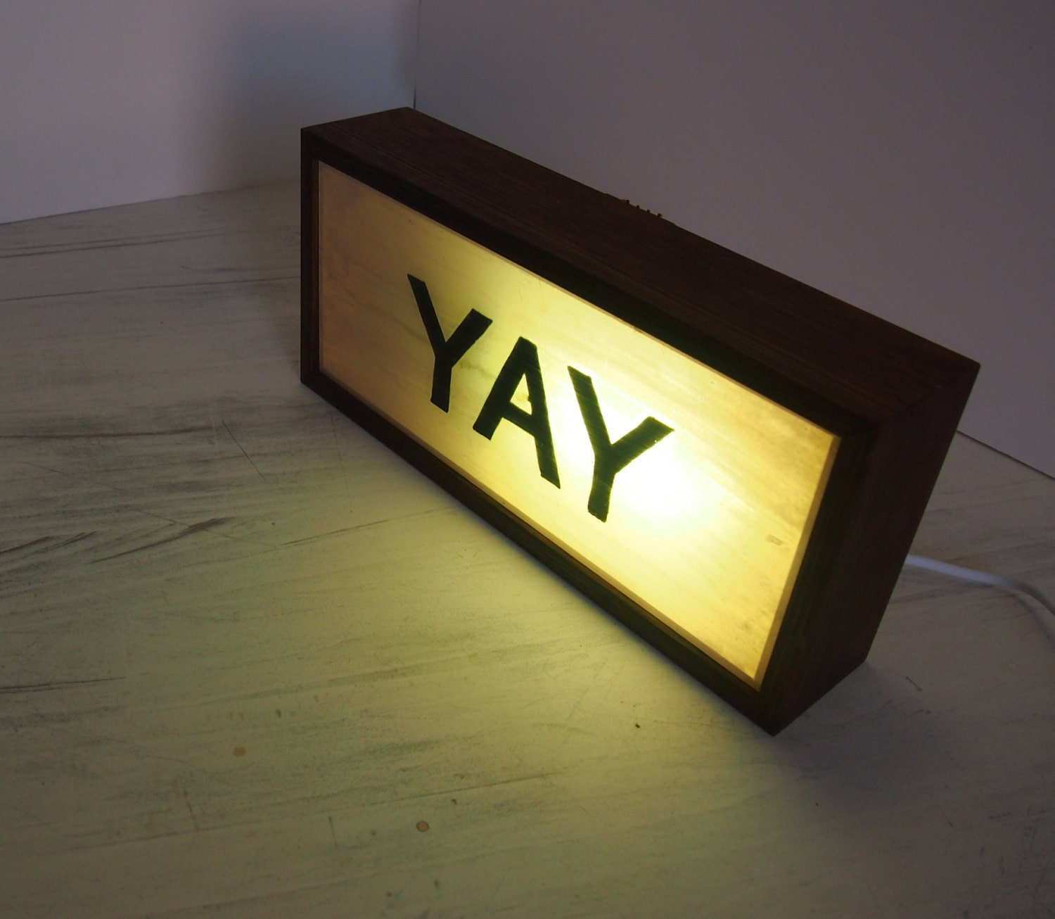 hand-painted lighted signs yay vintage wooden