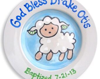 Baptism Gift - Godparent  Godchild  Gift - Baby Boy Gift - Personalized Lamb Baptism Christening Ceramic Keepsake Plate