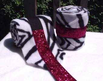 2 Custom Zebra Bling Polo Wraps