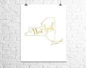 Foil Art Print, New York State Map Print, Gold Foil, Home Town State Map Print, Bedroom Wall Art, Poster
