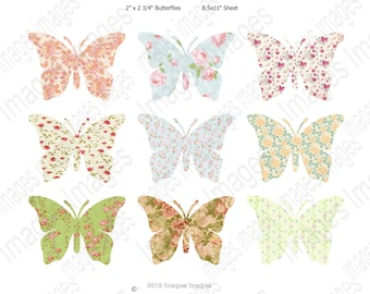 Printable Pastel Butterfly Clip Art Digital Collage Sheet 9 Floral Butterflies for Scrapbooking Clip Art  for Instant Download 300dpi jpg