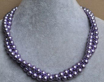 lilac pearl necklace,light purple pearl necklaces,2 strands 8mm glass pearl necklace,light purple bead necklace,hand made jewelry