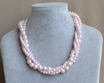 pink pearl Necklace,Glass Pearl Necklace, 3 rows Pearl Necklace,Wedding Necklace,bridesmaid necklace,pink glass pearl necklace.Jewelry
