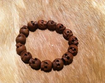 skull bracelet made of wood