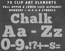 Alphabet Alpha Clip Art in White Chalk ~ Upper Case Lower Case Numbers and Symbols ~ 70 Elements Chalkboard  Not a Font