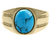 Oval-Cut Turquoise and Diamond Men's Ring In Yellow Gold
