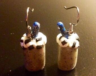 Cookies n' Cream Milkshake Earrings made with Sculpey clay