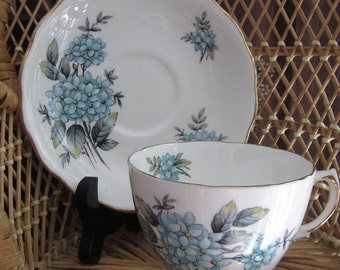 COLCLOUGH CHINA teacup and saucer Forget-Me-Nots