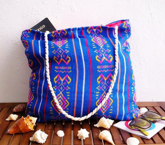 Tribal tote bag aztec print mexican embroidered fabric