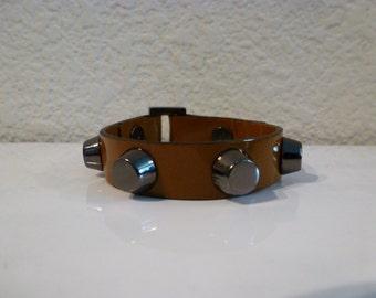 Gunmetal Hardware Bracelet - Dark Mustard Patent Leather