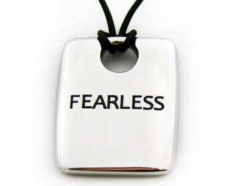 Fearless Dog Tag Pendant Necklace Fearless Necklace Fearless Jewelry Gifts For Her Gifts For Him