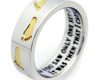 Footprints In The Sand Prayer Ring With Gold Colored Footprints