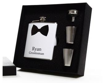 5 Bow Tie Groomsman Gift Flask Set // Set of 5
