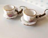 Cute Floral Teacup Earrings, Tea cup, Retro, Flower,Tea Party, Miniature