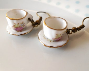 Cute Floral Teacup Earrings, Tea cup, Retro, Flower,Tea Party, Miniature
