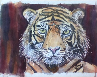 "This is a print of my original  watercolor painting titled "" Wild Tiger""  Available 5 x 7, 8 x 10, 11 x 14,16x20, wrapped canvas, note cards"