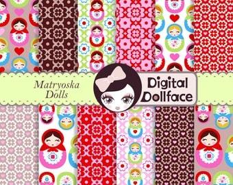 Cute Matryoshka Digital Paper, Retro Scrapbook Paper Pack, Pattern