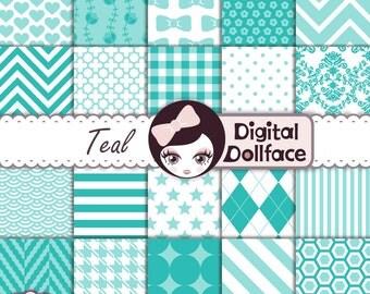 Teal Digital Paper Pack, Teal Scrapbook Paper Pack, Digital, Commercial Use