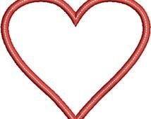 Heart Applique Design - Instant Download Digital File - Machine Embroidery