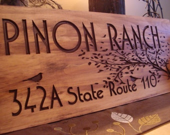 Rustic Wooden Ranch Cabin Address Sign Carved Address Plaque House Sign Personalized Sign Mothers Day Gift Fathers Day Benchmark Signs