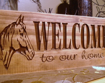 Rustic Western Inspired Carved Wooden Welcome To Our Home Sign Rustic Horse  Farm Ranch Design Best