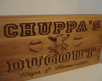 Personalized Wood Carved Bar Sign MAN CAVE Baseball  Beer theme GROOMSMAN Gifts Fathers Day Gift Established Signs Benchmark Signs Gifts