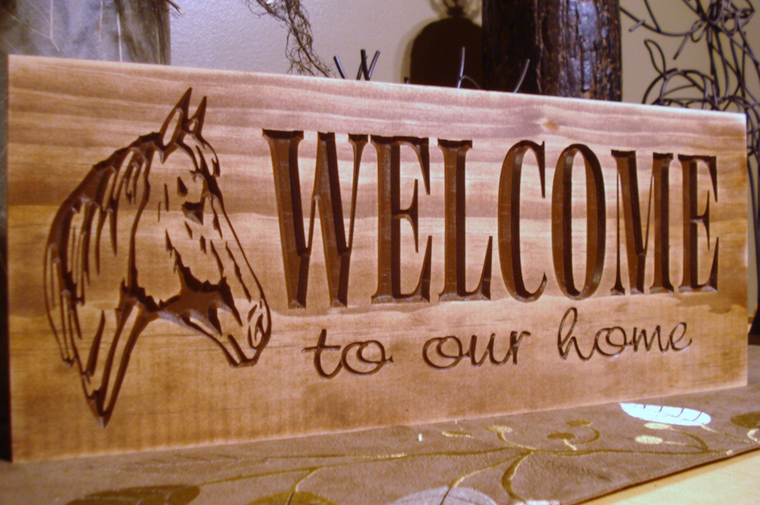 Wood Sign Design Ideas vintage looking painted sign from salvaged wooddiy ideas cheap Rustic Western Inspired Carved Wooden Welcome To Our Home Sign Rustic Horse Farm Ranch Design Best