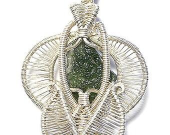 Moldovite heady wire wrap pendant , Moldovite pendant