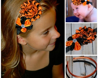 Halloween Headband, Orange and Black Headband, Halloween baby, adult headband, teen headband, shabby headband, hard headband, hair bow