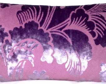 Pink Cushion Cover Velvet Pillow Case Velvet Shimmery Fabric Leblond Designers Guild Rectangle