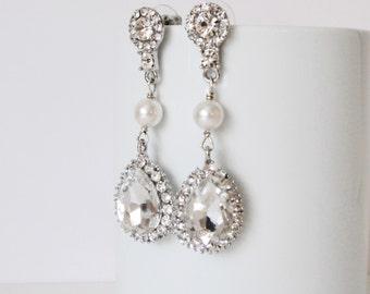 Quinceanera Wedding Earrings, Pearl Drop Earrings, Rhinestone Drop Earrings, Wedding Jewelry, Handmade Bridal Earrings