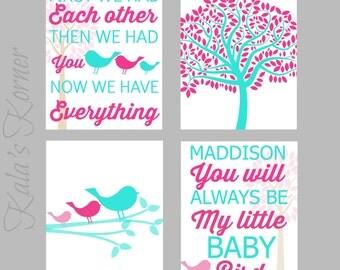 BIRD NURSERY ART - Pink Turquoise Nursery, Playroom Art, Children Wall Art, Bird Nursery Decor, Custom Baby Name, Bird Wall Art Decor Print