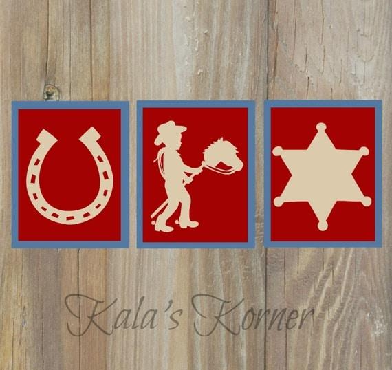 Cowboy Wall Decor Nursery : Cowboy nursery art wall horse by