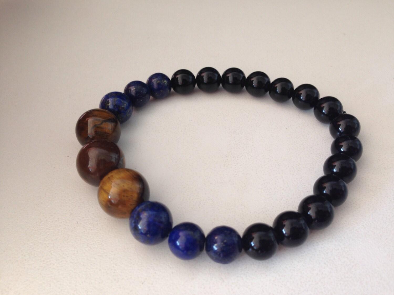 s bracelet b170 tiger eye lapis lazuli black