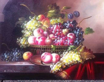 """GRAPES & FRUIT - Original Oil Painting - 24"""" X 36"""" Mounted"""