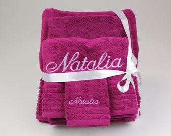 2 Piece Personalised Embroidered Towel Set