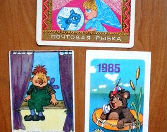 Vintage Soviet pocket calendar, 80s, soviet cartoon, soviet souvenir, USSR