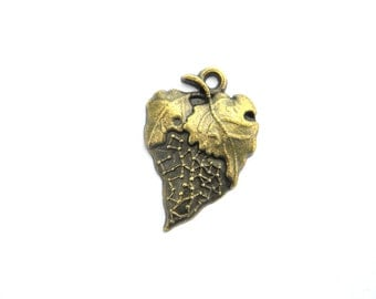 6 Bronze  Leaf Charms - 23mm