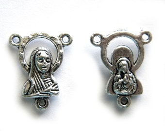 5 Silver Rosary Connectors
