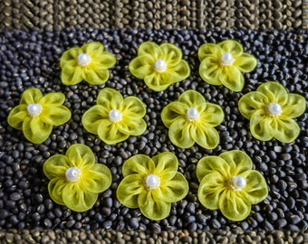 Small Sheer Bright-Colored Gathered Ribbon Flowers with Beaded Centers Bright Yellow