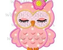 Sleeping owl applique machine embroidery design digital applique