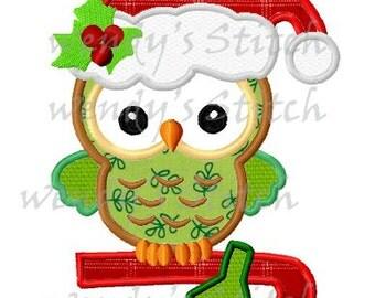 Christmas owl applique machine embroidery design digital pattern