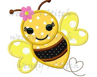 Girl bumble bee applique machine embroidery design digital pattern