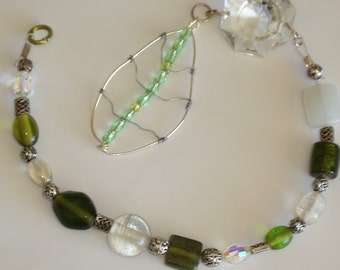 Green Glass, Clear Bead and Copper Wire Suncatcher