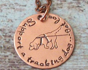 Tracking Dog Hand Stamped Necklace - Jewelry, Exclusive, Unique Dog Gift, CT