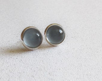 Grey Dome Glass Stud Post Earrings Small Minimal Dot