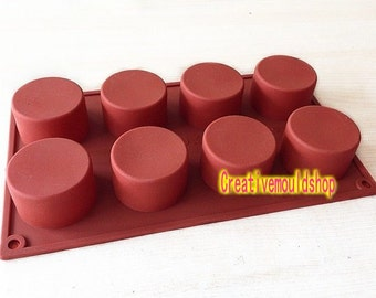8-Round Cylinder diy bakeware Flexible mold Silicone Mold Cake Mold Polymer Clay Mold Resin Mold candle Soap Mold tool
