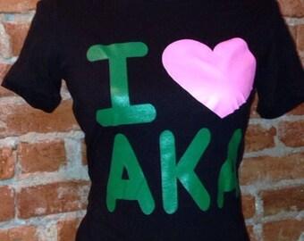 I Love Alpha Kappa Alpha T-shirt (black)