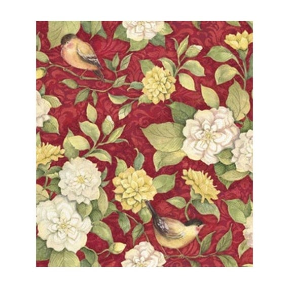 Susan Winget Quilt Fabric- Meadow Bird Floral, Cotton Sewing Fabric, Quilting Material, Yardage F20